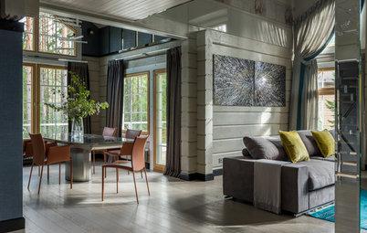 Houzz тур: Дом на горнолыжном курорте с двусветной гостиной и СПА
