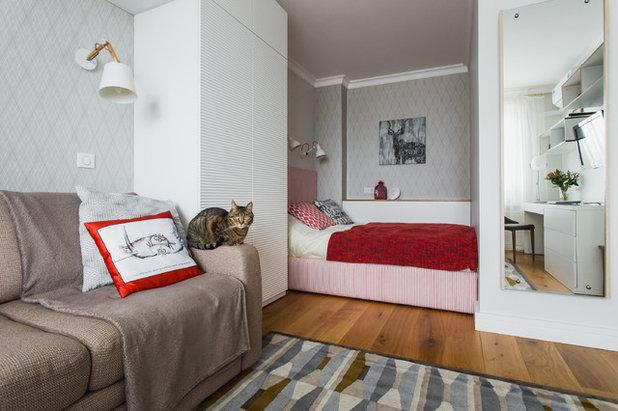 Teilen Sie Den Raum In Schlafzimmer Und Wohnzimmer Küche Kann Mit Hilfe Des  Kabinetts. Die Hintere Wand Verwenden Sie Für Kleine Regale.
