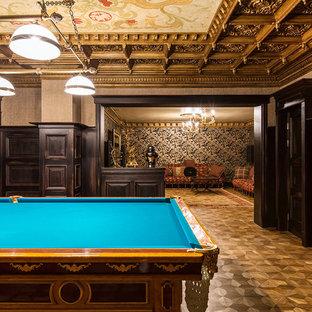 Идея дизайна: комната для игр в стиле фьюжн с паркетным полом среднего тона