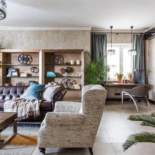 На фото: открытые гостиные комнаты в стиле современная классика с бежевыми стенами и бежевым полом