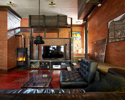 industrial wohnzimmer mit kaminofen design ideen bilder