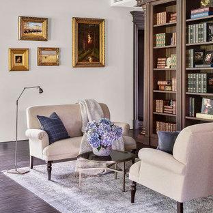 Свежая идея для дизайна: парадная, открытая гостиная комната среднего размера в современном стиле с белыми стенами, темным паркетным полом и коричневым полом без ТВ - отличное фото интерьера