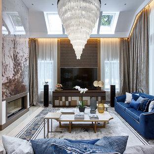 На фото: изолированная, парадная гостиная комната в современном стиле с серыми стенами, горизонтальным камином и отдельно стоящим ТВ с