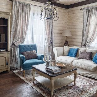Свежая идея для дизайна: парадная, открытая гостиная комната среднего размера в классическом стиле с бежевыми стенами, паркетным полом среднего тона и коричневым полом - отличное фото интерьера