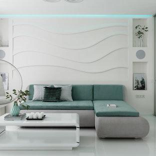 Foto di un piccolo soggiorno minimal aperto con pareti bianche, pavimento in gres porcellanato, TV nascosta e pavimento bianco
