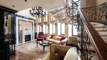 Двухуровневая квартира с камином