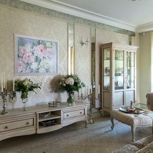 Immagine di un grande soggiorno classico aperto con libreria, pareti beige, pavimento in marmo, camino ad angolo, cornice del camino in intonaco e pavimento beige