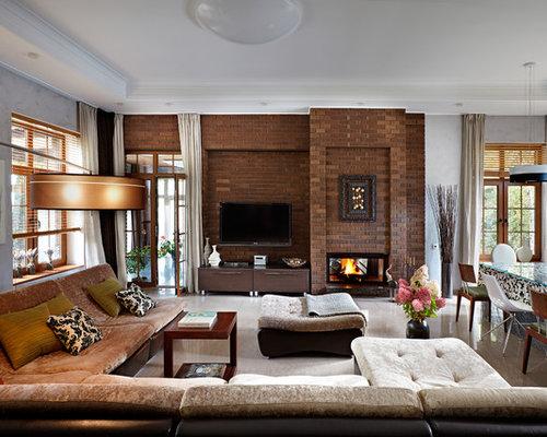 inspiration pour un grand salon traditionnel ouvert avec une salle de rception un sol en - Salon Mur Marron