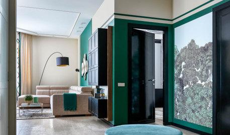 Houzz тур: Изумрудная квартира с фресками и мрамором