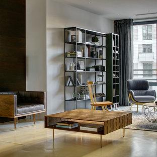 Удачное сочетание для дизайна помещения: большая парадная, открытая гостиная комната в современном стиле с серыми стенами, бетонным полом и бежевым полом без ТВ - самое интересное для вас
