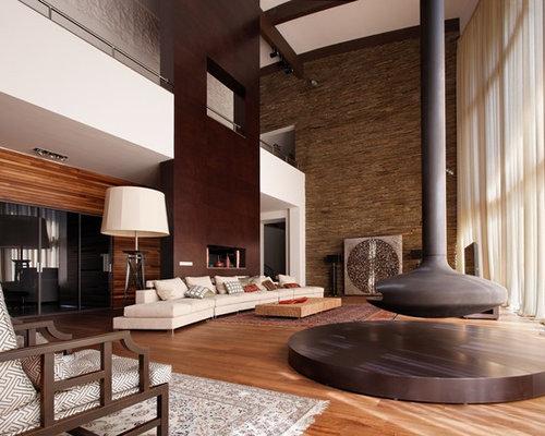 ides dco pour un trs grand salon contemporain ouvert avec une salle de rception un - Salon Mur Marron
