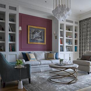 На фото: парадная, изолированная гостиная комната среднего размера в стиле современная классика с красными стенами, паркетным полом среднего тона и телевизором на стене без камина с