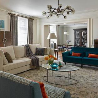 Foto de salón para visitas cerrado, clásico renovado, con paredes blancas, moqueta y suelo gris
