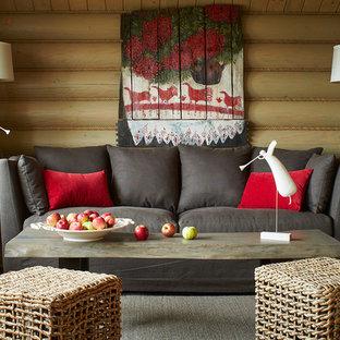 На фото: парадная, изолированная гостиная комната в стиле рустика с бежевыми стенами, паркетным полом среднего тона и бежевым полом с