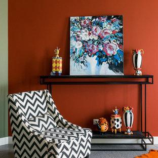 Modelo de salón contemporáneo con parades naranjas y suelo gris