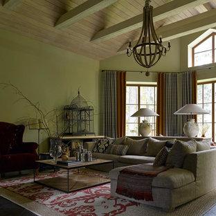 На фото: большая парадная, изолированная гостиная комната в стиле современная классика с темным паркетным полом и черным полом без камина, ТВ с
