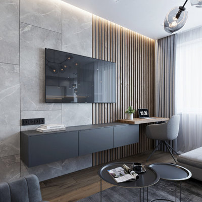 Living room - mid-sized contemporary open concept laminate floor and brown floor living room idea in Other with gray walls and a wall-mounted tv