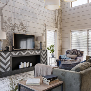 Mid-sized trendy formal and open concept porcelain floor and beige floor living room photo in Saint Petersburg with gray walls, a tile fireplace, a tv stand and a ribbon fireplace