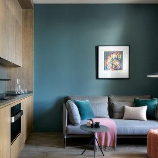Неиссякаемый источник вдохновения для домашнего уюта: маленькая парадная, открытая гостиная комната в современном стиле с синими стенами, паркетным полом среднего тона и коричневым полом