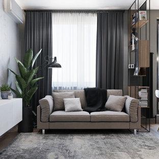 Foto di un piccolo soggiorno contemporaneo aperto con pareti grigie, pavimento in laminato e TV a parete