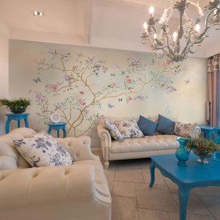 Foto di un grande soggiorno etnico chiuso con pareti beige, pavimento in gres porcellanato e pavimento beige