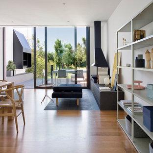 Удачное сочетание для дизайна помещения: большая парадная, открытая гостиная комната в скандинавском стиле с белыми стенами, светлым паркетным полом, фасадом камина из металла, подвесным камином и коричневым полом без ТВ - самое интересное для вас