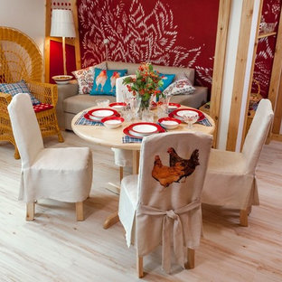 Design ideas for a country living room in Moscow with cork floors.