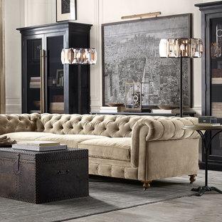 На фото: гостиная комната в стиле лофт с белыми стенами