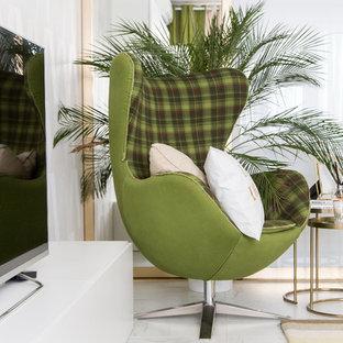 Esempio di un soggiorno design di medie dimensioni e chiuso con libreria, pareti bianche e pavimento in marmo
