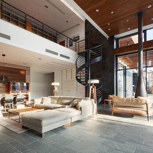Пример оригинального дизайна: большая открытая, парадная гостиная комната в современном стиле с разноцветными стенами, полом из сланца, подвесным камином, фасадом камина из металла и серым полом