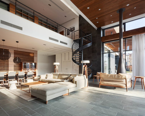 this is an example of a large contemporary formal open concept living room in moscow with - Slate Floors In Living Room