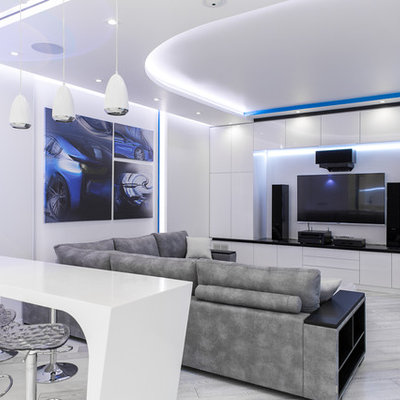 Inspiration for a large contemporary formal and open concept light wood floor and gray floor living room remodel in Moscow with white walls and a wall-mounted tv