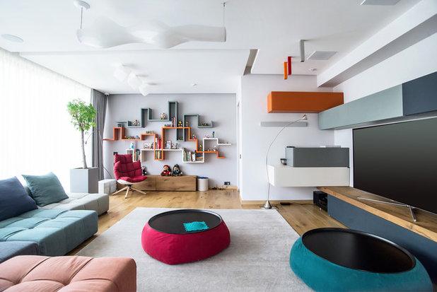 "Contemporary Living Room by Архитектурная студия ""М2"""