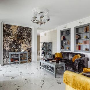 Идея дизайна: открытая гостиная комната среднего размера в современном стиле с библиотекой, полом из керамогранита, белым полом и белыми стенами