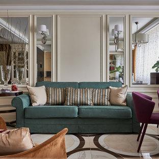На фото: парадная, открытая гостиная комната в стиле современная классика с бежевыми стенами и разноцветным полом