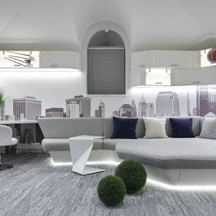 Неиссякаемый источник вдохновения для домашнего уюта: изолированная гостиная комната среднего размера в современном стиле с игровой комнатой, белыми стенами, ковровым покрытием и серым полом