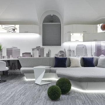 """Интерьер современного  жилого дома в коттеджном  поселке """"Монтевиль"""""""