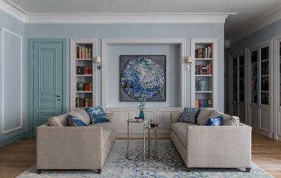 Houzz тур: Квартира с небесно-голубой гостиной