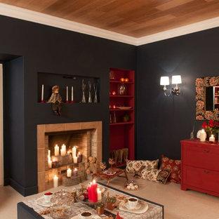 Ispirazione per un soggiorno minimal con pavimento in sughero