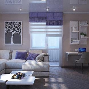 Foto de salón para visitas abierto, contemporáneo, de tamaño medio, sin chimenea y televisor, con paredes beige y suelo de linóleo