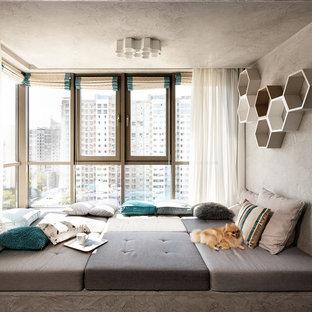 Свежая идея для дизайна: открытая гостиная комната в современном стиле с бежевыми стенами без ТВ - отличное фото интерьера