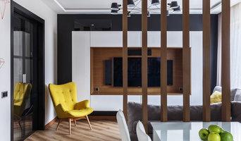 Кухня-гостиная с деревянной декоративной перегородкой