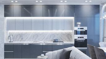 Кухня гостиная с функциональной подсветкой