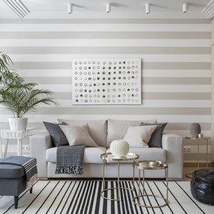 Aménagement d'un salon contemporain de taille moyenne et ouvert avec un mur beige, une salle de réception et moquette.