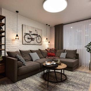 На фото: гостиная комната в стиле лофт с