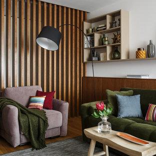 Mid-sized trendy cork floor and beige floor living room photo in Moscow with beige walls