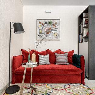 На фото: изолированные гостиные комнаты в современном стиле с белыми стенами