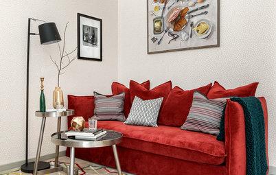 Houzz тур: Квартира для студента — с фрамугами и красным диваном
