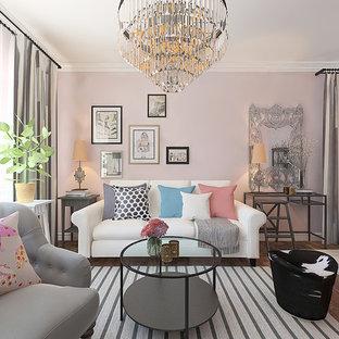Salon avec un mur rose Autres périmètres : Photos et idées déco de ...