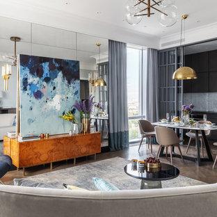 Стильный дизайн: парадная гостиная комната в современном стиле с темным паркетным полом и коричневым полом - последний тренд